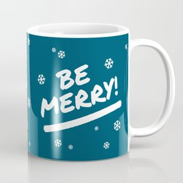 Peacock Blue Be Merry Christmas Snowflakes Coffee Mug