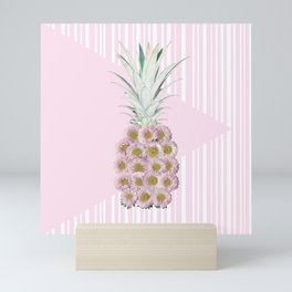 Floral Pineapple Stripes Pink Mini Art Print