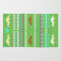 ferret Area & Throw Rugs featuring Pixel / 8-bit Ferret Pattern by Kadoodles