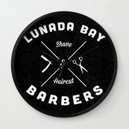 Barber Shop : Lunada Bay Barbers B&W Wall Clock