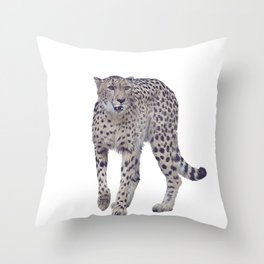 Digital painting of cheetah isolated on white background Throw Pillow