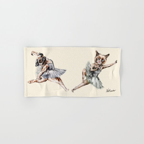 Hipster Ballerinas - Dog Cat Dancers Hand & Bath Towel