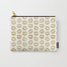 Gold Glitter Lips Carry-All Pouch