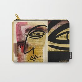 """Funky Face Abstract, """"I See 38"""" by Kathy morton Stanion Carry-All Pouch"""