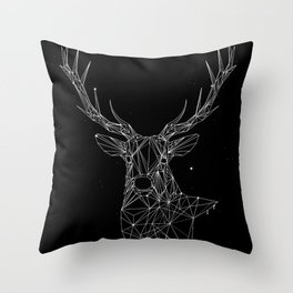 Deer with magnificent antlers of fine lines Throw Pillow