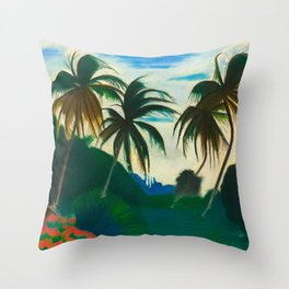 Tropical Scene with Palms and Flowers by Joseph Stella Throw Pillow