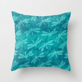 Dragonfly Dance Blue Green Throw Pillow