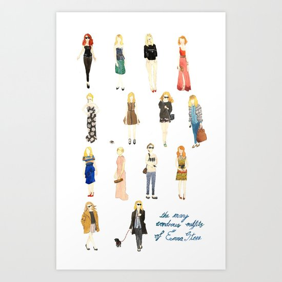 The Many Wondrous Outfits of Emma Stone Art Print