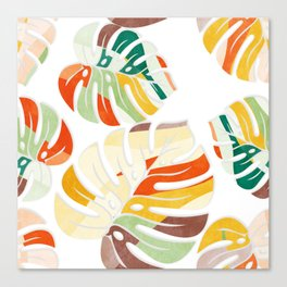 leaves seamless mid century pattern Canvas Print