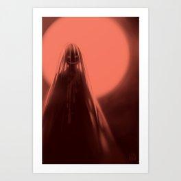 Red Moon (#Drawlloween2016 Series) Art Print