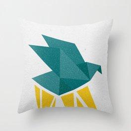 Flying origami bird Throw Pillow