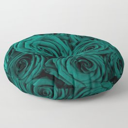 emerald green roses Floor Pillow