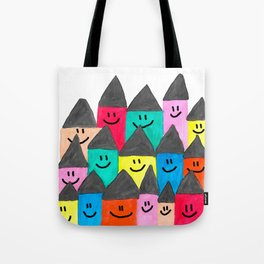 Happy faced houses Tote Bag