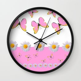 MODERN ART PINK BUTTERFLIES & WHITE DAISIES Wall Clock