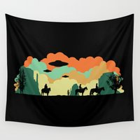 aliens Wall Tapestries featuring Cowboys & Aliens by kamonkey
