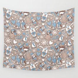 Penguin Christmas gingerbread biscuits V // brown silk background Wall Tapestry