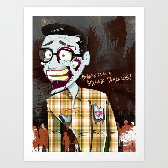 Hipster Zombie Art Print