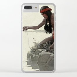 "N C Wyeth Vintage Western Painting ""Fishing"" Clear iPhone Case"