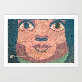 le visage dans le mur Art Print