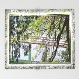RAINY SPRING DAY AT THE DOCK IN THE WOODS Throw Blanket
