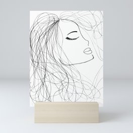 Sketch of a Girl. From my Coloring Book by Jodi Tomer. Curly Hair, Beautiful Girl Mini Art Print