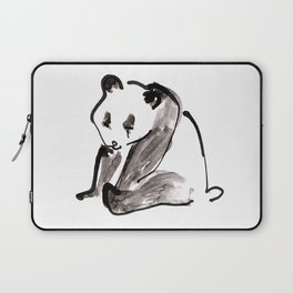 Cute Little Panda Bear Ink Illustration Laptop Sleeve
