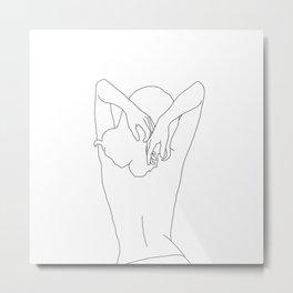 Woman's body line drawing - Cece Metal Print