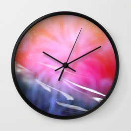 Abstract Coral & Deep Sea Seascape. Sunset & Sunrise colours. Wall Clock