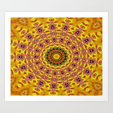 Lovely healing sacred Mandalas in yellow, orange, gold and red with a hint of white Art Print