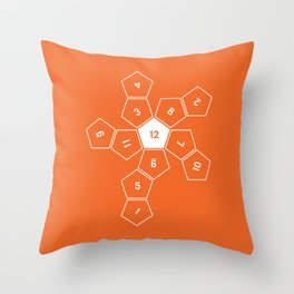 Orange Unrolled D12 Throw Pillow