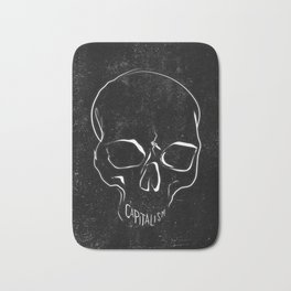 Anti Capitalism Black Skull Political Art Print Bath Mat