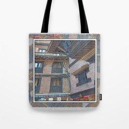 BHAKTAPUR NEPAL BRICKS WINDOWS WIRES Tote Bag