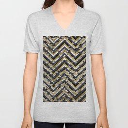 Black and White Marble and Gold Chevron Zigzag Unisex V-Neck