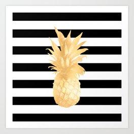 Gold Pineapple Black and White Stripes Art Print
