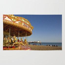 Golden Carousel at the Beach Rug