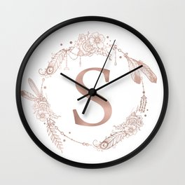 Letter S Rose Gold Pink Initial Monogram Wall Clock