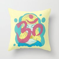 om Throw Pillows featuring Om by Monstruonauta