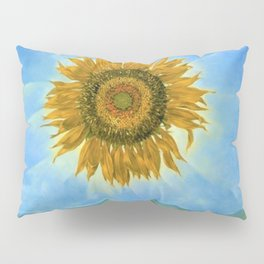 Sunflower Sunrise over the Alpine Mountains landscape painting by D. Tanning Pillow Sham