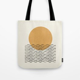 Ocean wave gold sunrise - mid century style Tote Bag