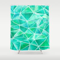emerald Shower Curtains featuring Emerald by Jamworth