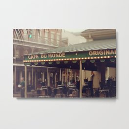 Foggy Cafe Du Monde Metal Print