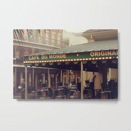 Foggy Cafe Du Monde Metal Print