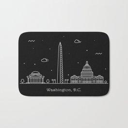Washington D.C. Minimal Nightscape / Skyline Drawing Bath Mat