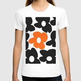 Large Orange and Black Retro Flowers White Background #decor #society6 #buyart T-shirt
