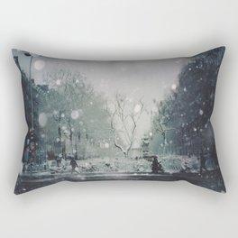 A Winter's Eve In Canal St Martin, Paris Rectangular Pillow