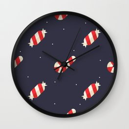 Red Christmas Peppermint Pattern Wall Clock