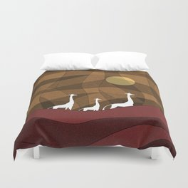 Beautiful warm giraffe family design Duvet Cover
