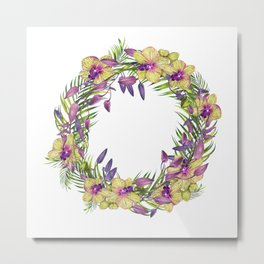 Wreath, Orchid, Clipart, watercolor, handpainted, floral, flower, design, stylish Metal Print