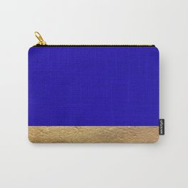 Color Blocked Gold & Cerulean Carry-All Pouch