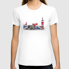 Big Ben, London Bus and Union Jack Flag T-shirt